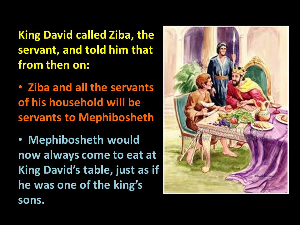 King David called Ziba, the servant, and told him that from then on: