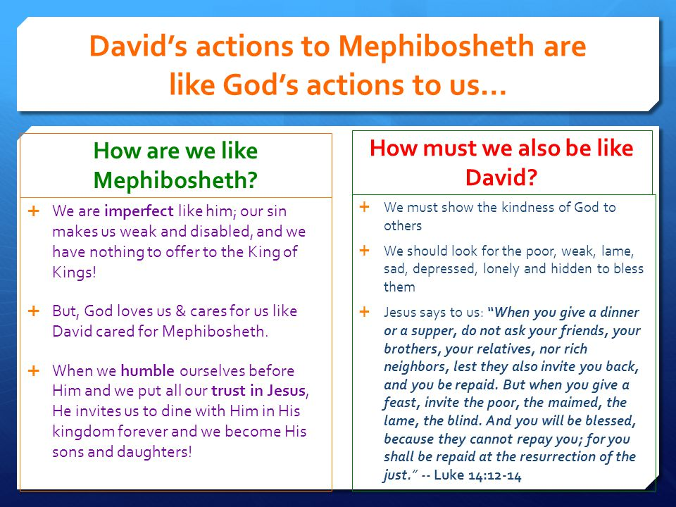 David's actions to Mephibosheth are like God's actions to us…