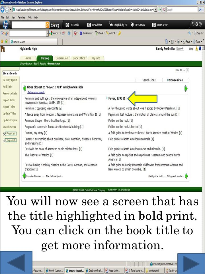 You will now see a screen that has the title highlighted in bold print