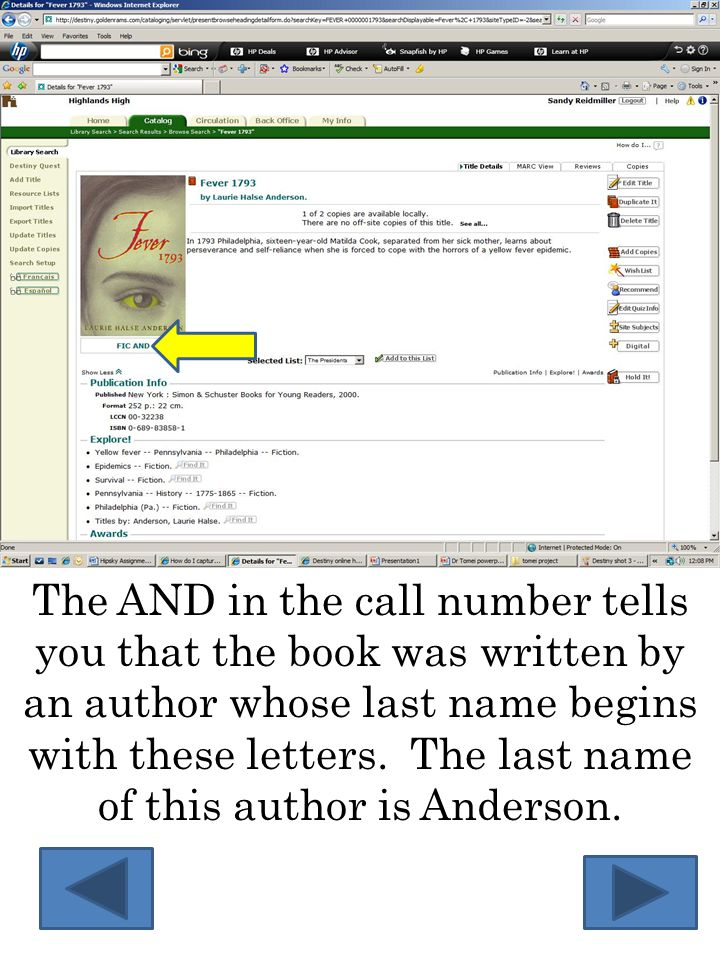 The AND in the call number tells you that the book was written by an author whose last name begins with these letters.