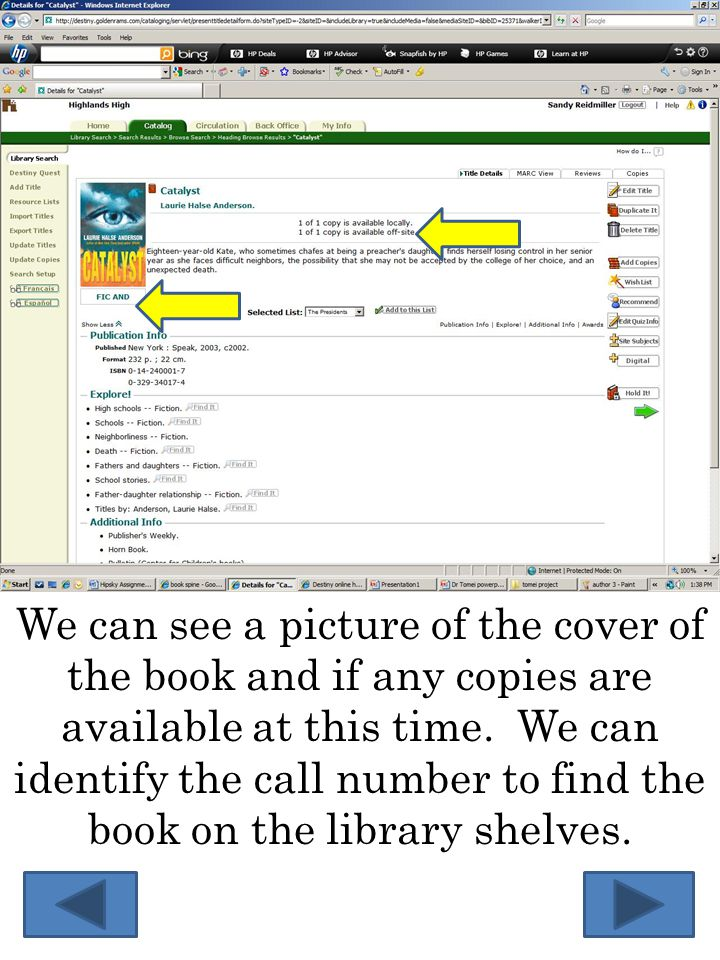 We can see a picture of the cover of the book and if any copies are available at this time.