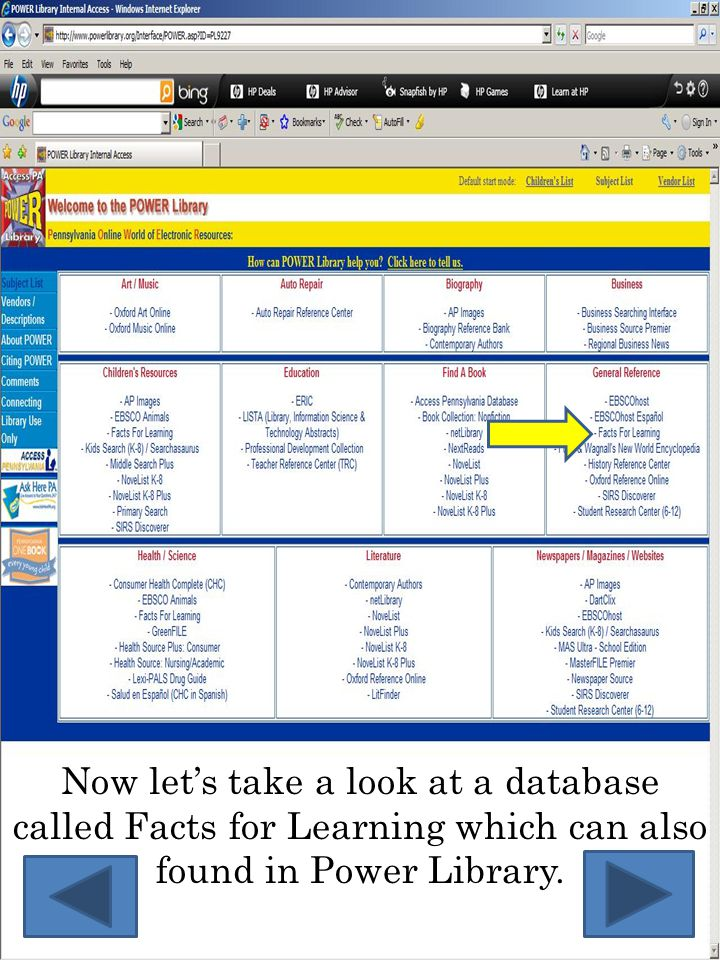 Now let's take a look at a database called Facts for Learning which can also found in Power Library.