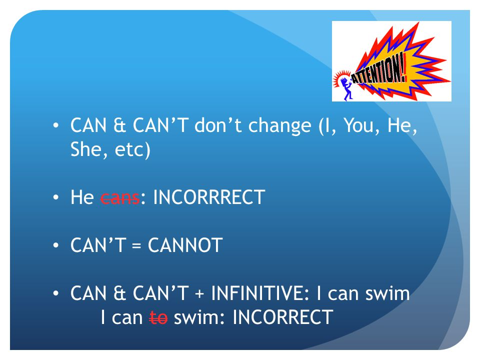 CAN & CAN'T don't change (I, You, He, She, etc)