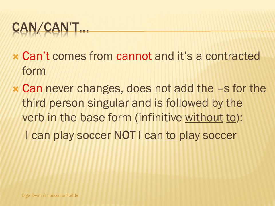 Can/can't… Can't comes from cannot and it's a contracted form