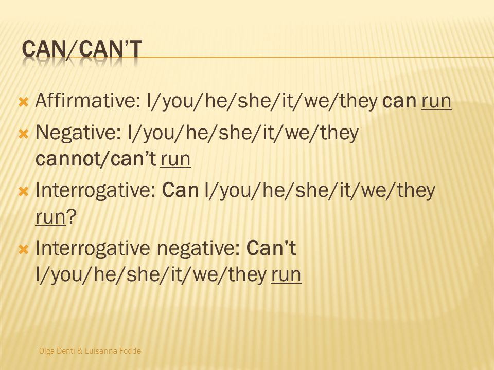 Can/can't Affirmative: I/you/he/she/it/we/they can run