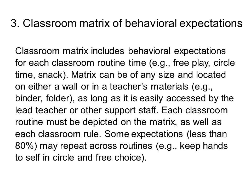 3. Classroom matrix of behavioral expectations