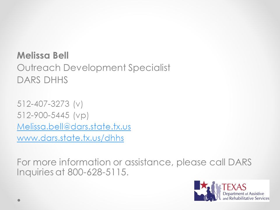 Outreach Development Specialist DARS DHHS