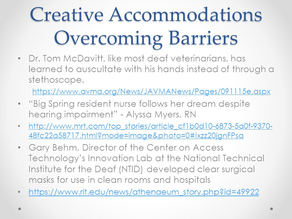 Creative Accommodations Overcoming Barriers