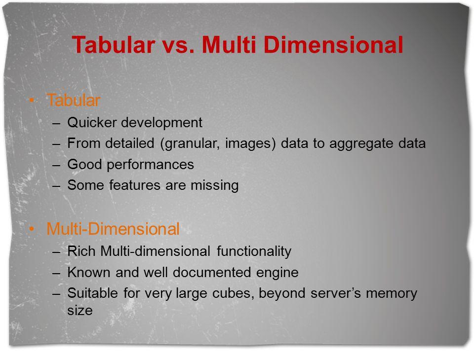 Tabular vs. Multi Dimensional