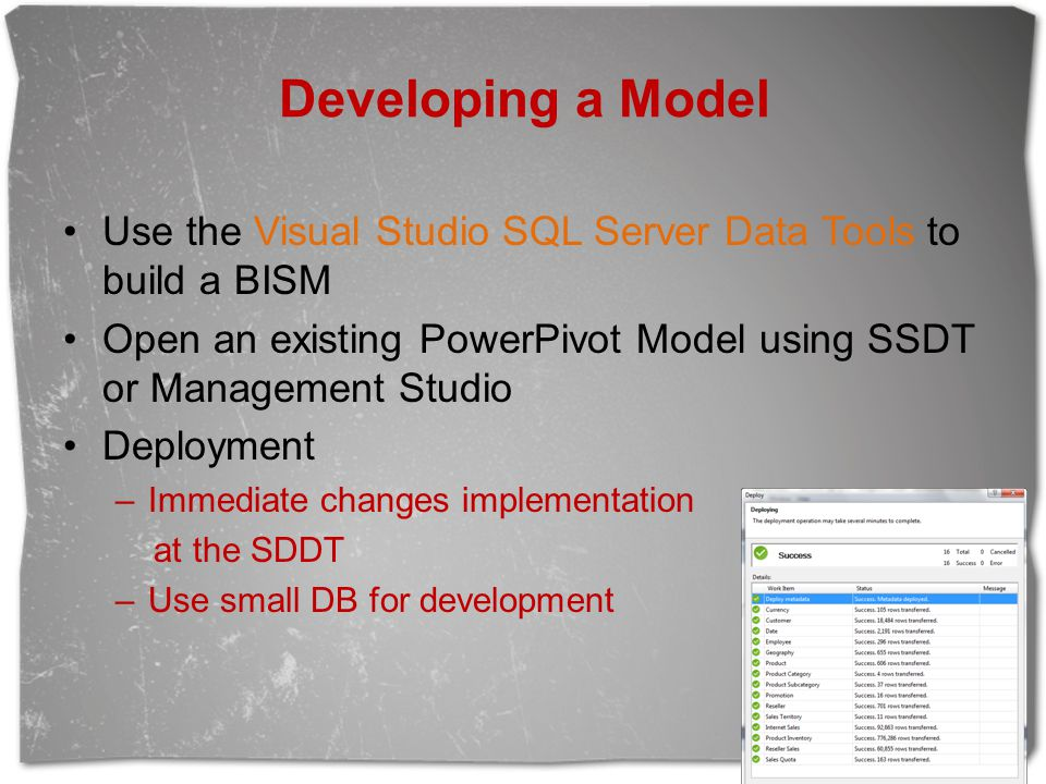Developing a Model Use the Visual Studio SQL Server Data Tools to build a BISM. Open an existing PowerPivot Model using SSDT or Management Studio.