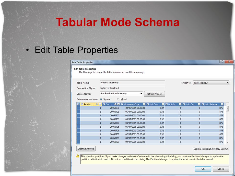 Tabular Mode Schema Edit Table Properties