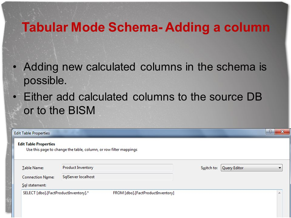 Tabular Mode Schema- Adding a column