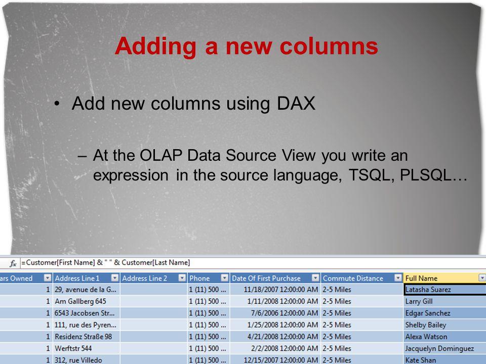 Adding a new columns Add new columns using DAX