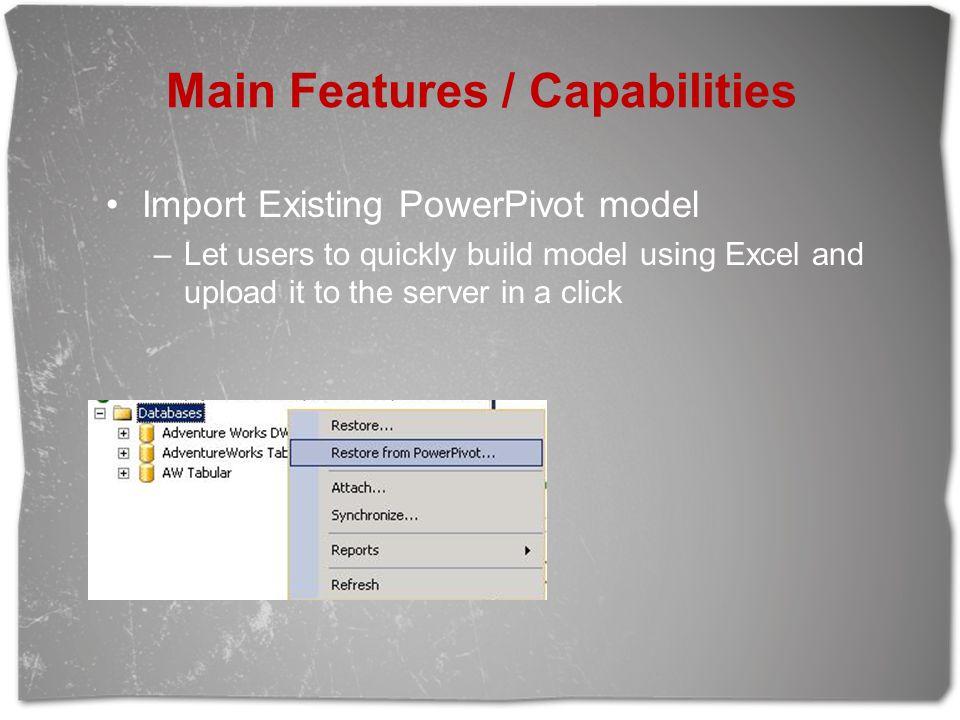 Main Features / Capabilities