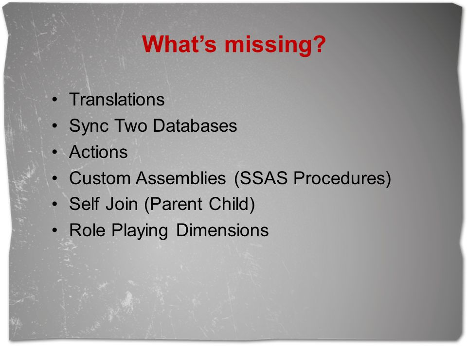 What's missing Translations Sync Two Databases Actions