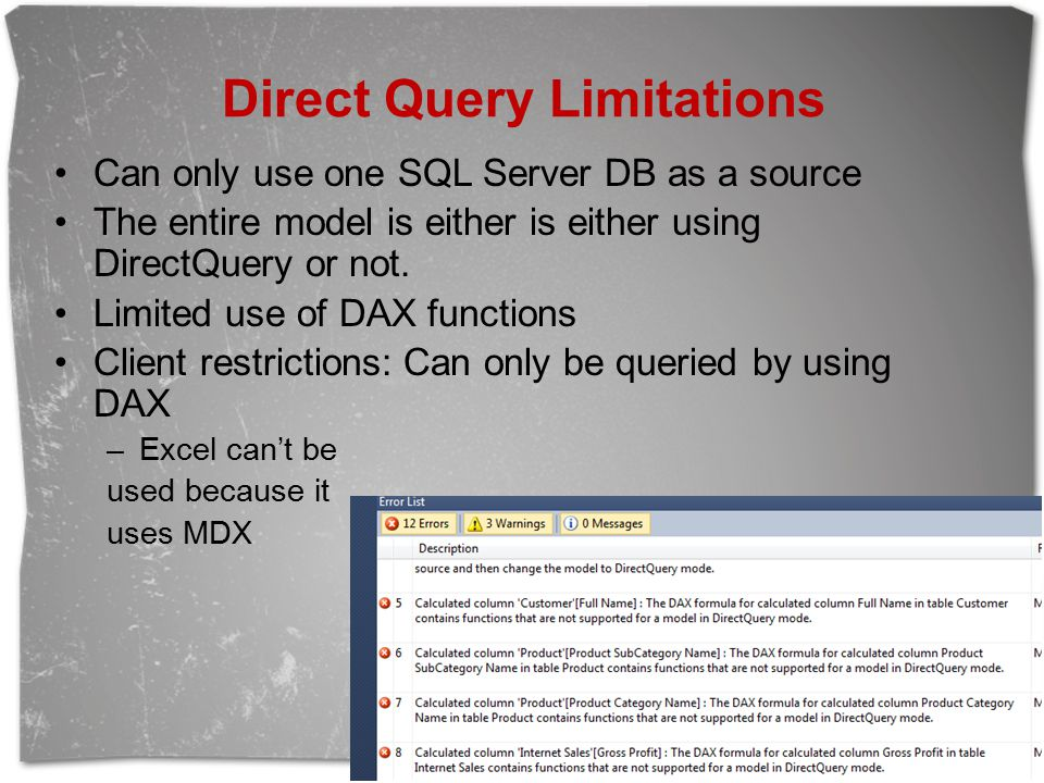 Direct Query Limitations