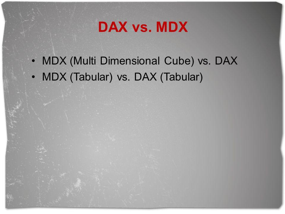 DAX vs. MDX MDX (Multi Dimensional Cube) vs. DAX