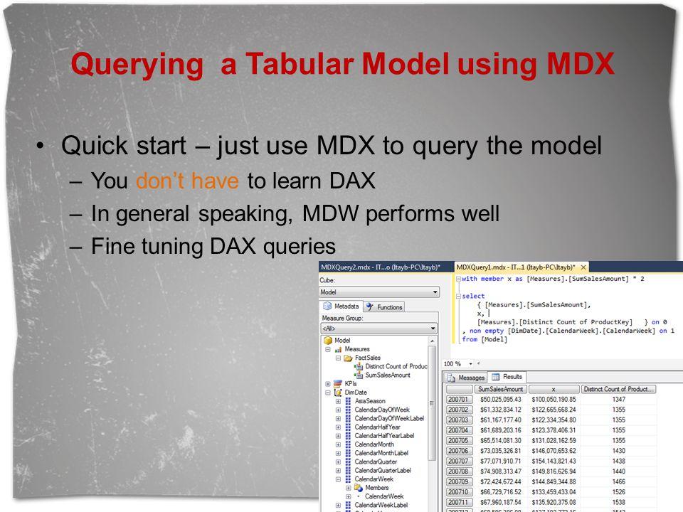 Querying a Tabular Model using MDX