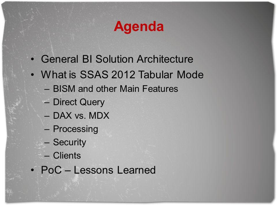 Agenda General BI Solution Architecture What is SSAS 2012 Tabular Mode