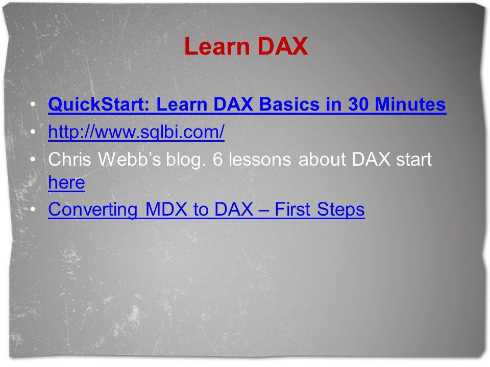 Learn DAX QuickStart: Learn DAX Basics in 30 Minutes