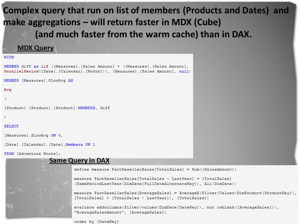 (and much faster from the warm cache) than in DAX.