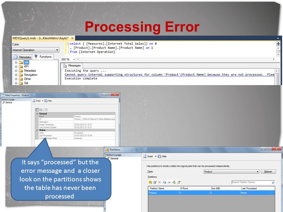 Processing Error It says processed but the error message and a closer look on the partitions shows the table has never been processed.