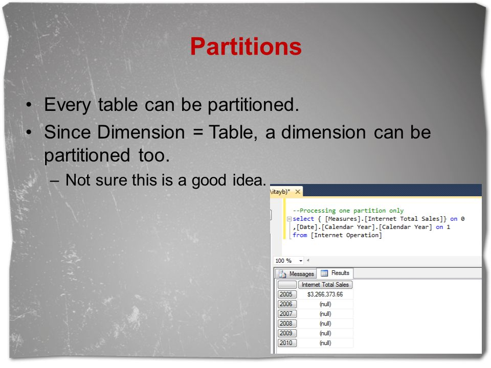 Partitions Every table can be partitioned.