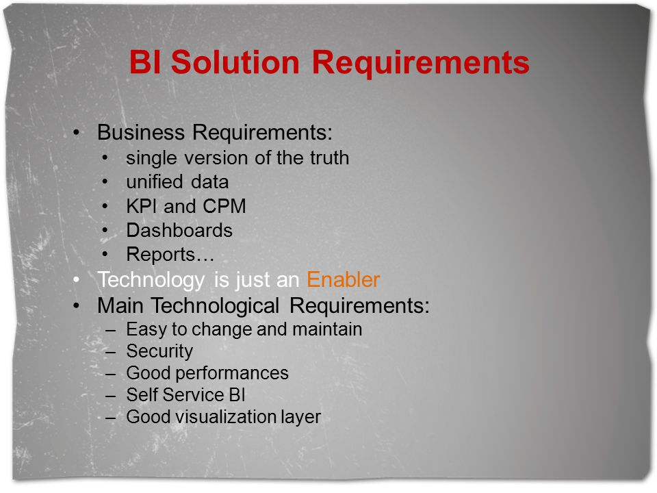 BI Solution Requirements