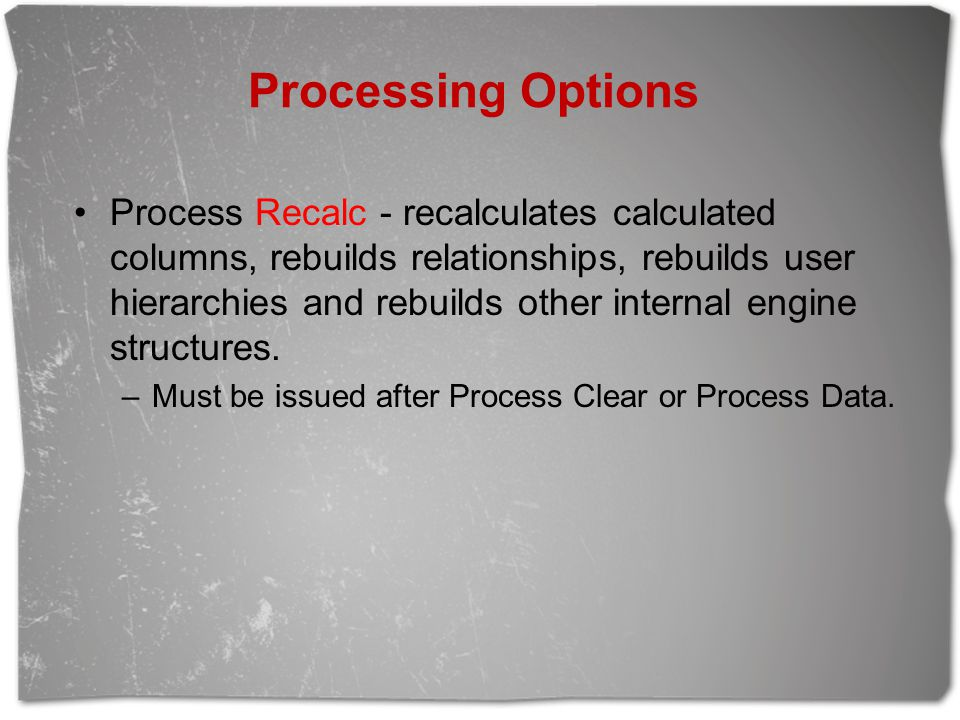 Processing Options