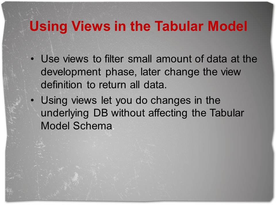 Using Views in the Tabular Model