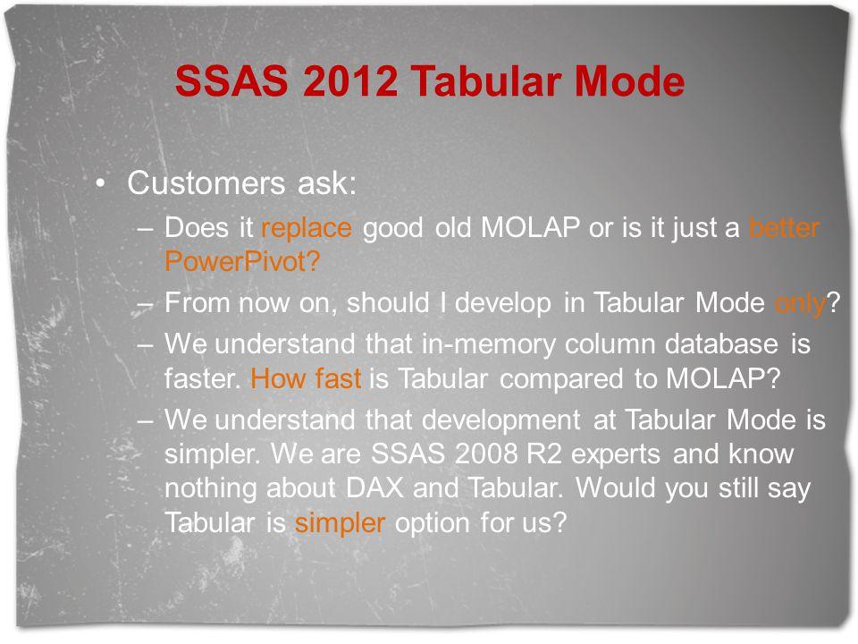 SSAS 2012 Tabular Mode Customers ask: