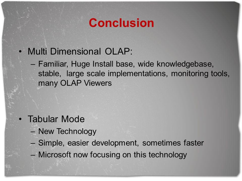 Conclusion Multi Dimensional OLAP: Tabular Mode