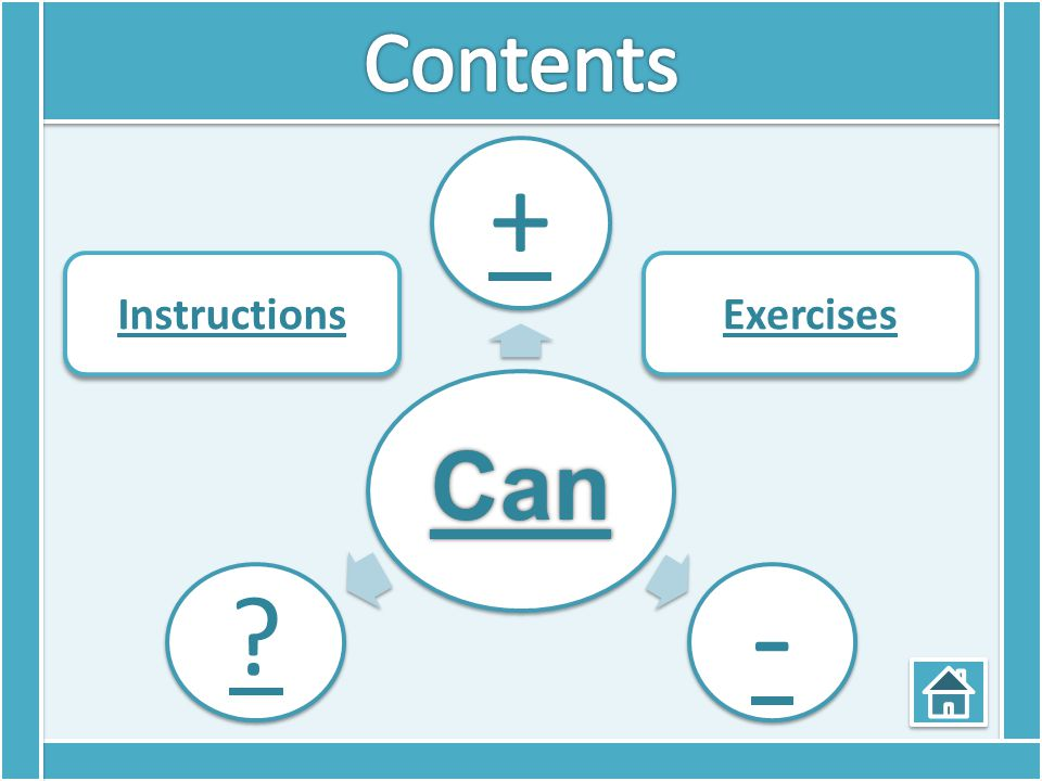 Contents Can + - Instructions Exercises