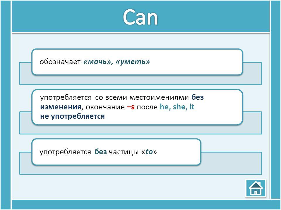 Can обозначает «мочь», «уметь» употребляется со всеми местоимениями без изменения, окончание –s после he, she, it не употребляется.
