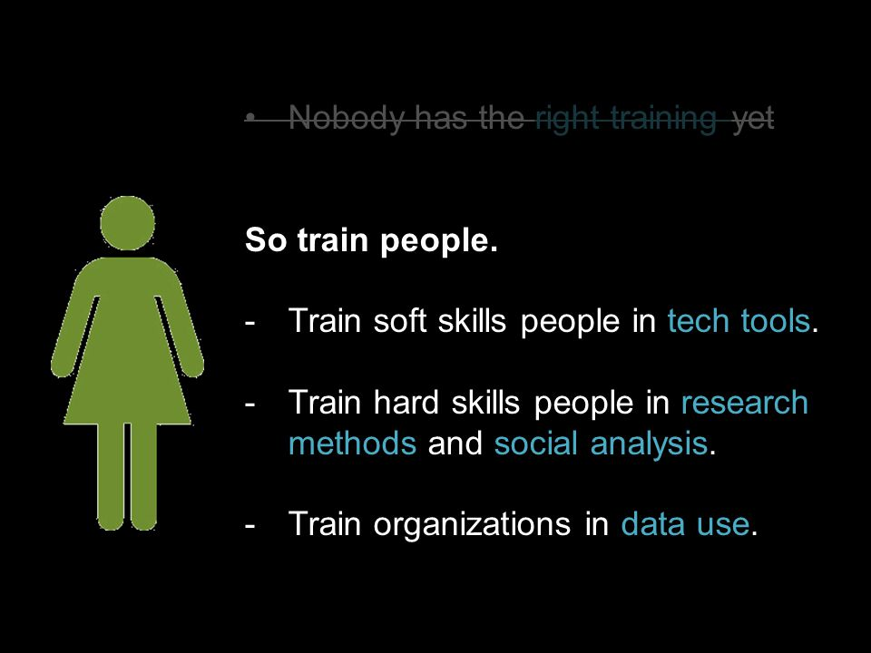 Nobody has the right training yet So train people.