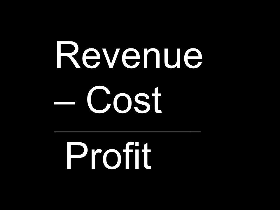 Revenue – Cost Profit ____________________________