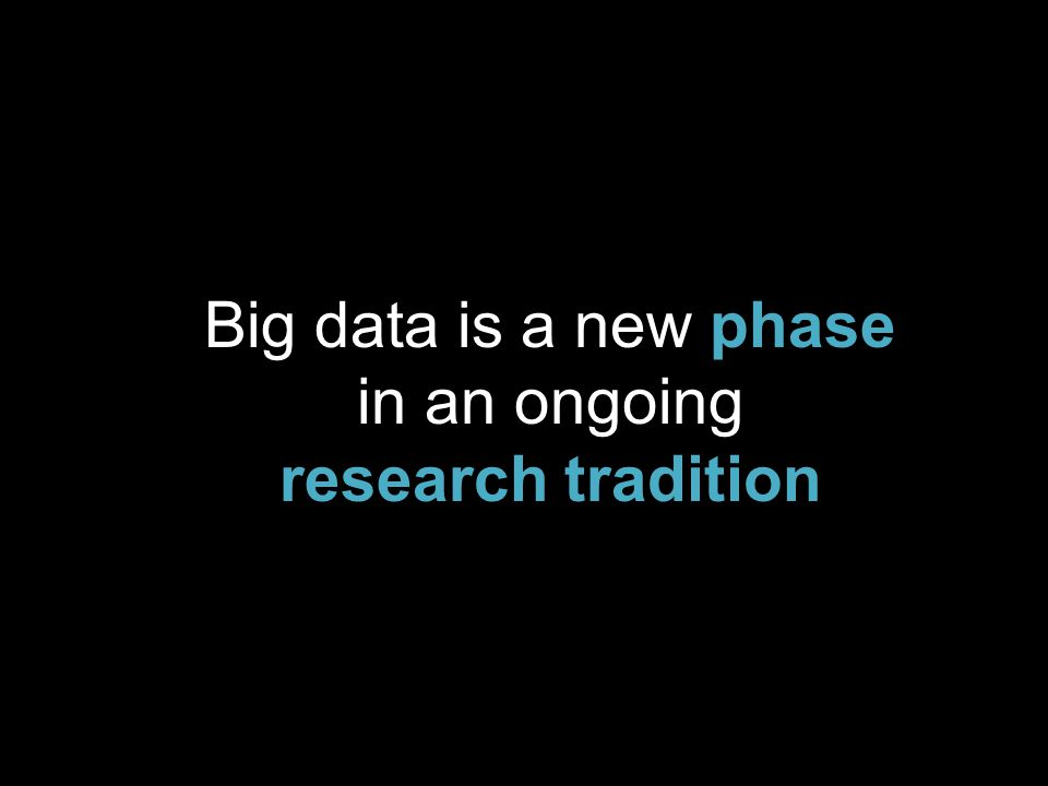Big data is a new phase in an ongoing research tradition