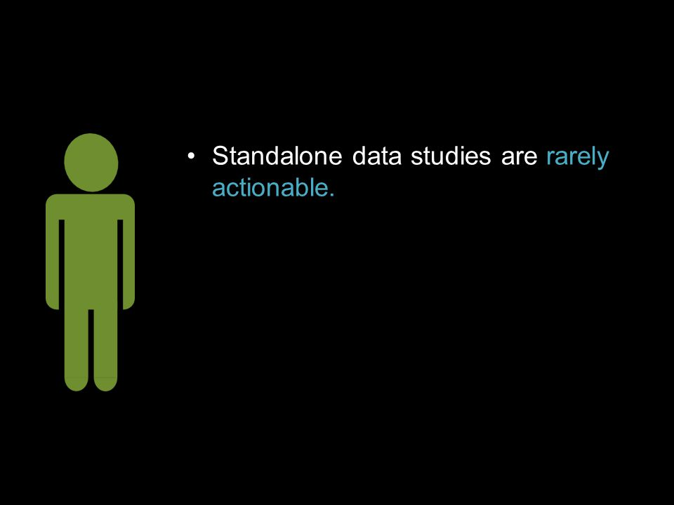 Standalone data studies are rarely actionable.