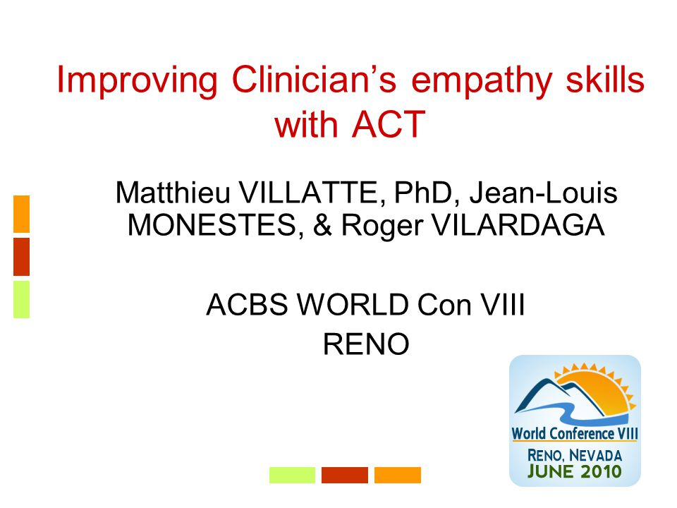 Improving Clinician's empathy skills with ACT