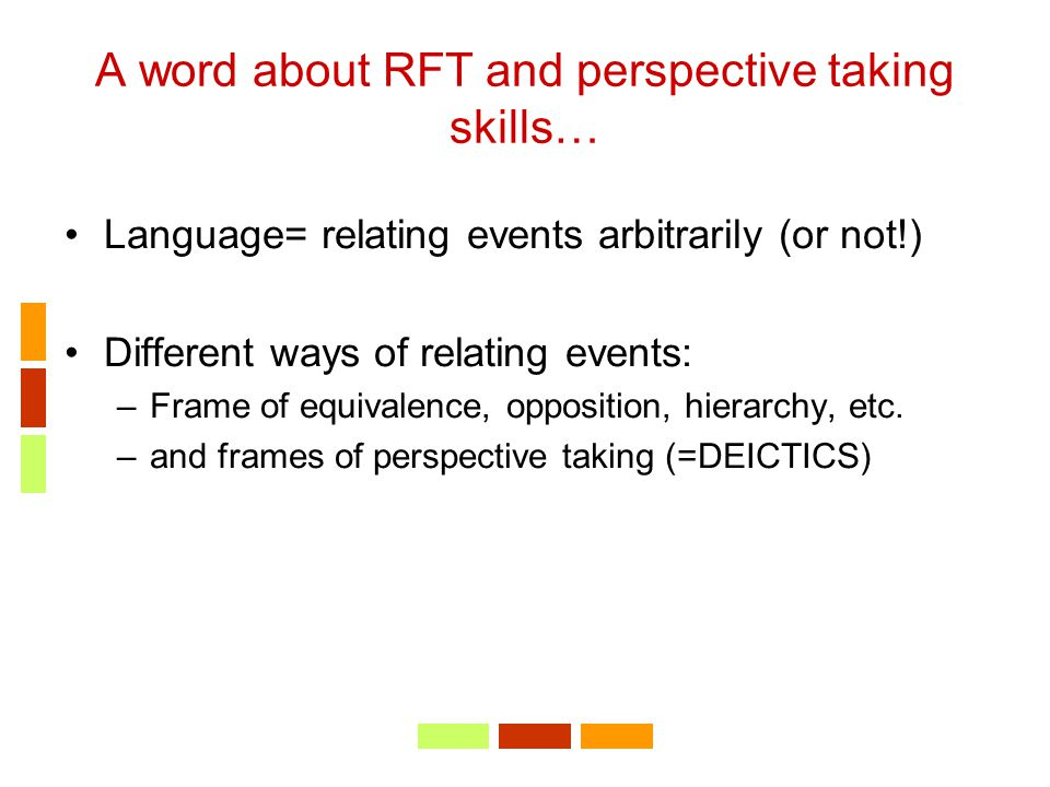 A word about RFT and perspective taking skills…