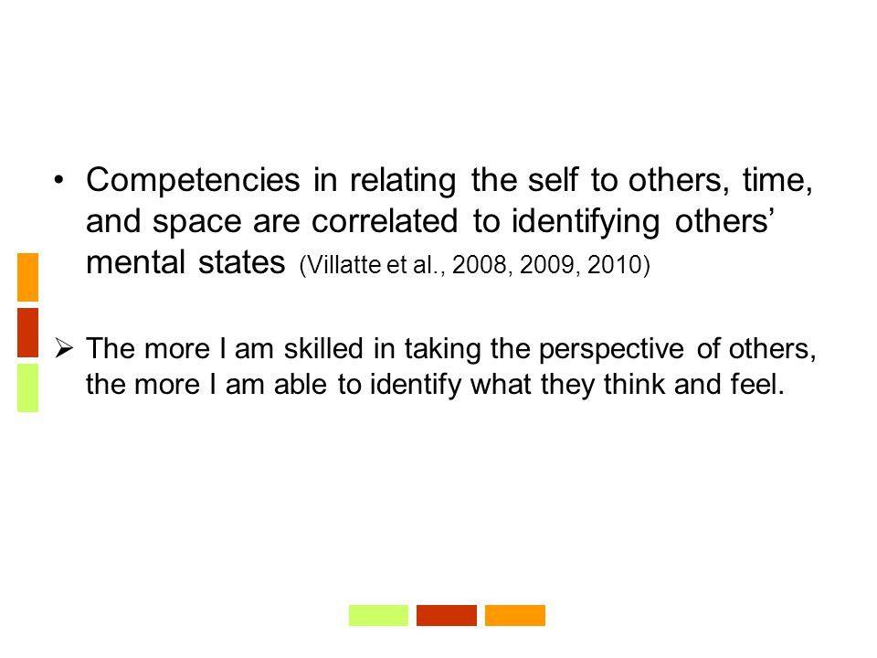 Competencies in relating the self to others, time, and space are correlated to identifying others' mental states (Villatte et al., 2008, 2009, 2010)