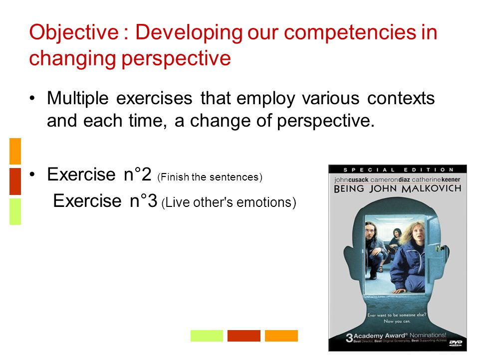 Objective : Developing our competencies in changing perspective