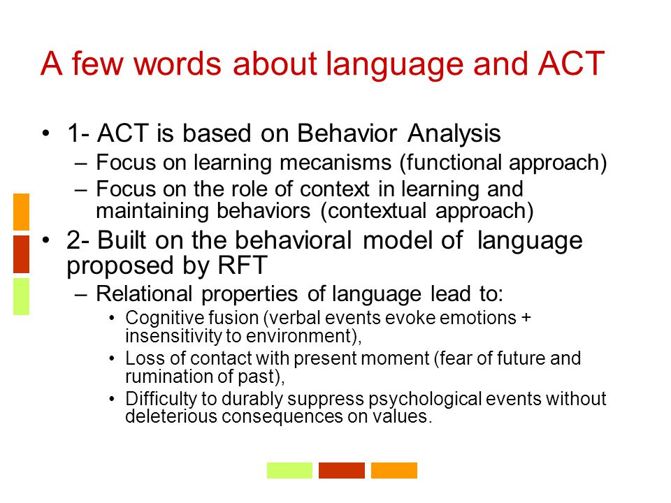 A few words about language and ACT