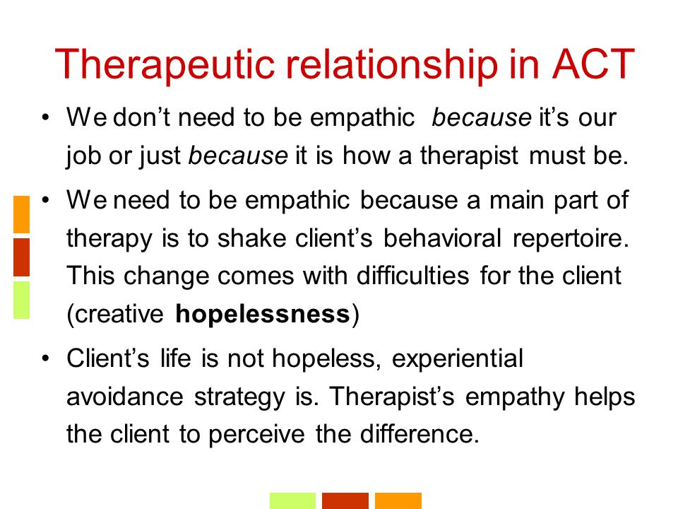 Therapeutic relationship in ACT