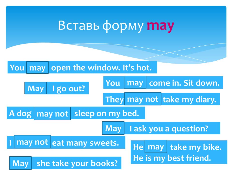 Вставь форму may You … open the window. It's hot.