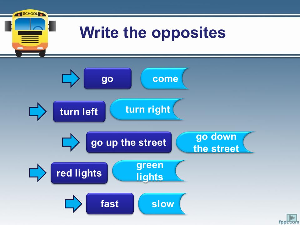 Write the opposites go come turn right turn left go up the street