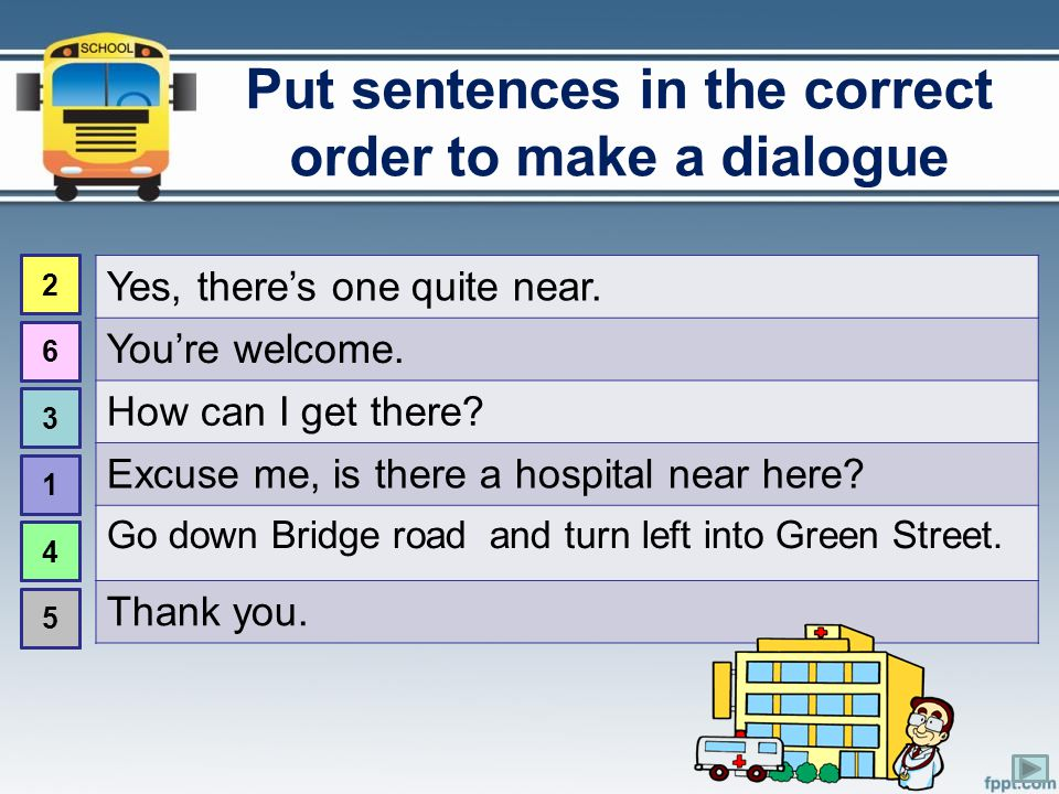 Put sentences in the correct order to make a dialogue