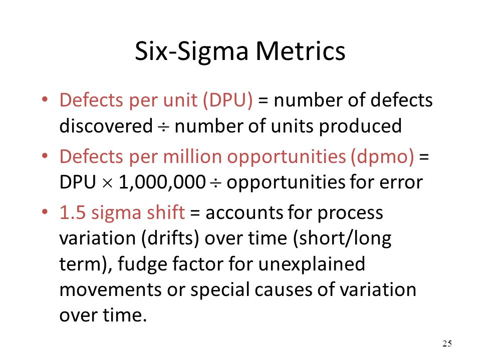 Six-Sigma Metrics Defects per unit (DPU) = number of defects discovered  number of units produced.