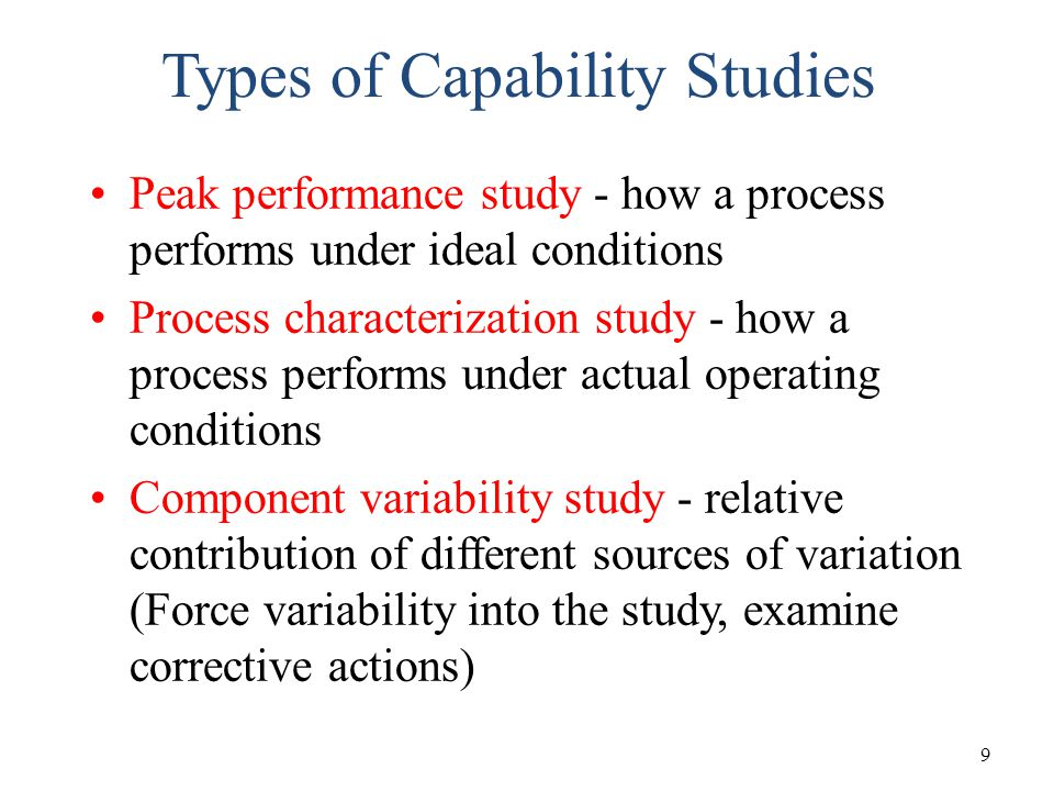 Types of Capability Studies