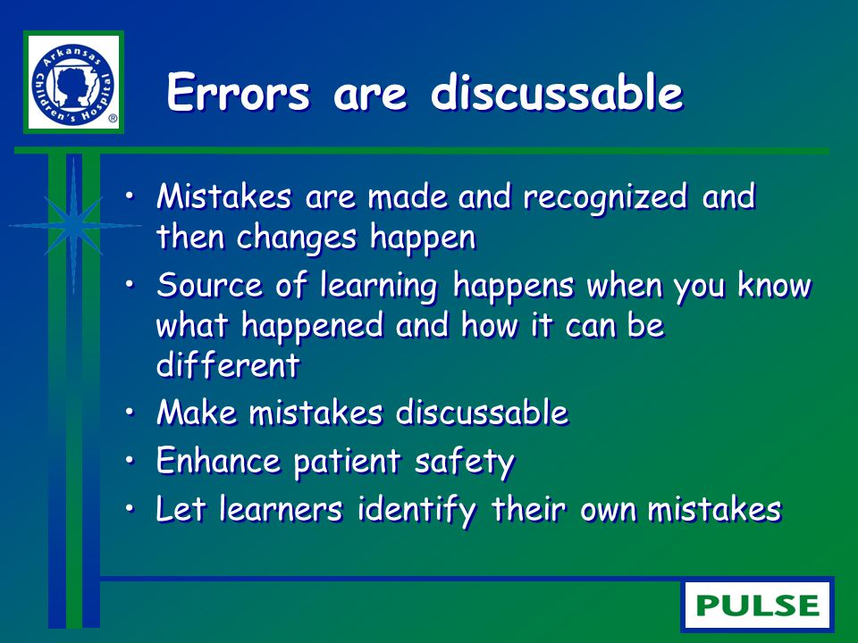 Errors are discussable